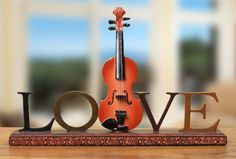 Violin Shelf Decoration with the Word Love:Amazon:Home & Kitchen