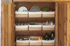 Jenny Kayne's kitchen // refinery29 //ways to keep the kids stuff out of site