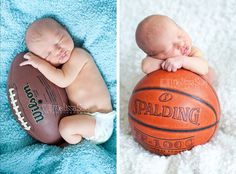 newborn and basketball and football.   newborn and sports.  baby boy posing with balls.  newborn shoot   ideas.