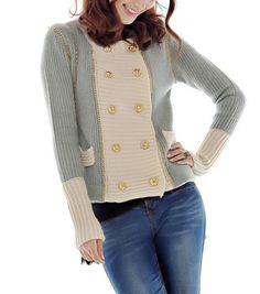Double Breasted Colorblocked Wool Sweater