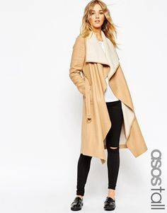 ASOS TALL Coat With Waterfall Front And Belt