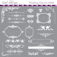 Digital Frames WHITE Ornate Digital Clipart Wedding Invitation Bridal Shower ornate flourish frames Design Clip Art 0640 My etsy shop sweetboutique.etsy.com