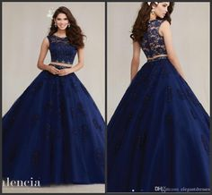 2017 Nave Blue Two Pieces Quinceanera Dresses Cap Sleeves A Line Lace Appliques Puffy Sweet 16 Formal Prom Dress Gowns Dress Long Gowns Dresses From Cinderelladress, $155.36| Dhgate.Com