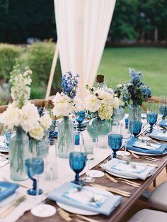 29 Awesome Classic Blue Wedding Ideas for 2020 Wedding Colors Wedding Themes, Wedding Colors, Our Wedding, Greek Wedding Theme, Wedding Blue, Wedding Poses, Wedding Flowers, Wedding Ideas, Blue Table Settings