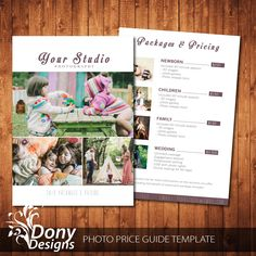 photography pricing template - Photo Pricing Guide Template - Pricing guide Photoshop template Instant Download - BUY 1 GET 1 FREE: pg-019 by DonyDesigns on Etsy
