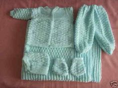6 pc Crochet Baby Set Blanket Pants Sweater Hat Booties - Blue