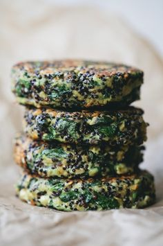 // quinoa, oat, spinach, and feta patty green kitchen stories. Veggie Recipes, Whole Food Recipes, Vegetarian Recipes, Cooking Recipes, Healthy Recipes, Chard Recipes, Cauliflower Recipes, Burger Recipes, Delicious Recipes