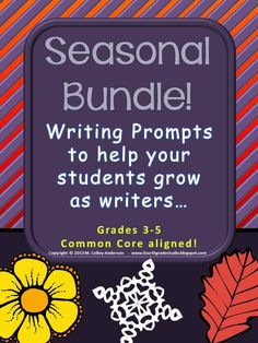 Teachers LOVE my writing prompt sets--easy to use, easy to score, easy to help make differentiation easier!  They are a great way to track writing data on kids in a MEANINGFUL and helpful way.  This is a bundled set of prompts that can be used throughout the year--a spring/summer set, a fall/back to school set, and a winter set.  Try it!  You will know your students so much better as writers!   Genre sets also available.  $8