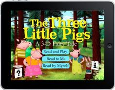 The Three Little Pigs: A Fairy Tale by Noisy Crow. This app holds many surprises and ways to engage with the story (blow into the mic to blow down the pig's houses! Crow Books, Three Little Pigs, Personalized Books, Read Aloud, Nursery Rhymes, Storytelling, Childrens Books, 3 D, Fairy Tales