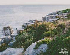 Ocean Photograph, Rocks, Landscape, Atlantic Ocean, Sea Green, Sunset, Summer, Nautical, Teal, Nature, Seaside Flora - Silence is golden