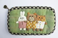 rabbit bear cat pencil glasses cosmetic cell mobile phone pouch purse case bag #Handmade #CosmeticBags
