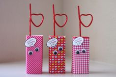 Valentine Crafts for kids and toddlers.  Loopy juice boxes perfect for a valentine party
