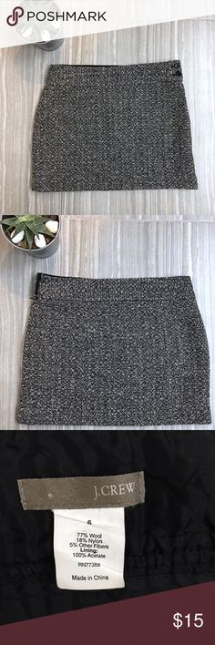 "J.Crew Wool Boucle Mini Skirt Size 6 J.Crew Wool Boucle Mini Skirt Size 6. Fabric is 77% Wool, 18% nylon, 5% other. Fully lined. Side zip entry with two buttons. Finished length is 15"" Flat lay waist is 15 1/2"". EUC J. Crew Skirts Mini"