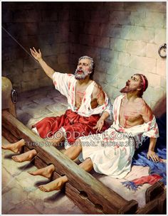 """Paul and Silas in prison. Acts """"The jailer called for lights, rushed in and fell trembling before Paul and Silas. He then brought them out and asked, """"Sirs, what must I do to be saved? Meaningful Pictures, Bible Pictures, Jesus Pictures, Jesus Christ Images, Jesus Art, Arte Judaica, Paul The Apostle, Apostles Creed, Christian Artwork"""