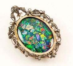 Victorian Gold Silver Diamond Fire Opal Floral Cameo Brooch. $9,500 on GoAntiques
