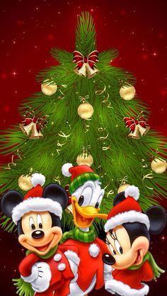 Disney Christmas - Mickey, Minnie, and Donald Mickey Mouse Y Amigos, Minnie Y Mickey Mouse, Mickey Mouse Christmas, Mickey Mouse And Friends, Christmas Art, Christmas Sayings, Christmas Wishes, Christmas Holiday, Christmas Ideas