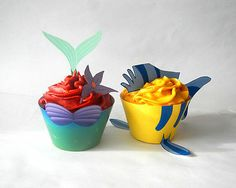 The Little Mermaid Cupcake Wrappers Toppers Party Decorations Printable Digital
