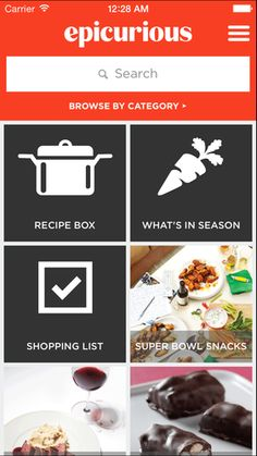 Hey, look at our beautiful new design for the Epicurious app for Apple devices. (This one's the iPhone!)