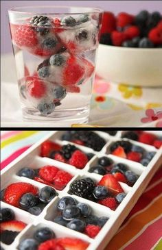 Flavor water with frozen fruit ice cubes
