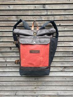 Encerado lona mochila con correas de cuero por treesizeverse