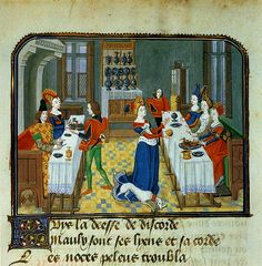 """Discordia ( Eris , the goddess of discord ) throws a golden apple for the present goddesses to disrupt the wedding of Peleus and Thetis . Noteworthy are the linen tablecloth with embroidered border , the exposed crockery and sofas where the guests sitting. Thumbnail Jean Miélots editing by Christine de Pisan , L' Epitre d' Othea , ca. 1460 . Brussels , Royal Library of Belgium , Ms. 9392 , fol. 63v"""