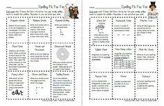 Spelling activities - spelling bingo