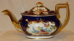Attractive 19th Century English Porcelain Bird & Insect Painted Coalport Teapot