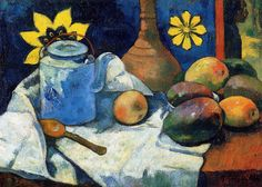 Paul Gauguin (1848-1903), Still Life with Teapot and Fruit, 1896.  oil on canvas, 47.5 x 66 cm