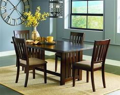 Kennedy Transitional Bruno Brown Rubberwood 5pc Dining Room Set