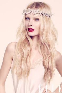 Floral crown, hair and red lips