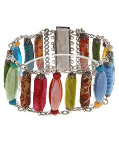 @Overstock - Add an intriguing dash of color to your repertoire with this unique fabric scrap bracelet.http://www.overstock.com/Worldstock-Fair-Trade/Handmade-Colorful-Fabric-Scrap-Bracelet-India/1520439/product.html?CID=214117 $125.12