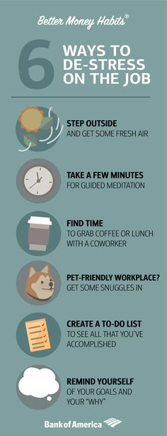 Having a new job can get a little stressful. Luckily, there are lots of easy ways to de-stress while clocking in. (And getting that new paycheck doesn't hurt either.) ⏰
