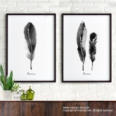 Feather watercolor painting Art print Set of 2 Black by colorZen