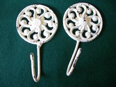 Pair of Vintage Cast Iron Painted White Chippy Wall Hooks, Shabby Chic Towel Hangers, Coat or Hat Hook