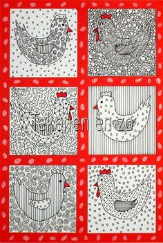 Benodigdheden: white drawing sheet piece of cardboard black fine marker red marker scissors and glue Cut a piece of cardboard from 7 by 7 . Spring Art, Spring Crafts, Artists For Kids, Art For Kids, Drawing Sheet, Student Drawing, Chicken Art, Chicken Crafts, Easter Art