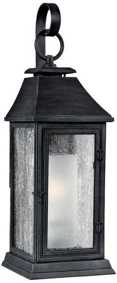 """Feiss Shepherd 19"""" High Weathered Zinc Outdoor Wall Light"""