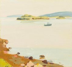 thunderstruck9:Fairfield Porter (American, 1907-1975), Peak Island and Lobster Boat, 1968. Oil on board, 14 x 15 in.