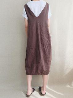 Cord Pocket Pinafore Dress - Banggood Mobile