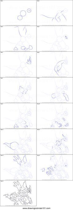 How to Draw Kyurem from Pokemon printable step by step drawing sheet : DrawingTutorials101.com