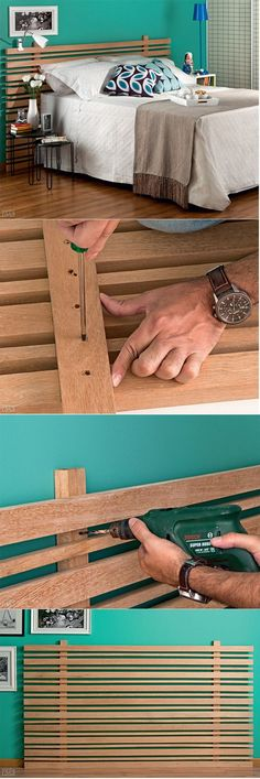 Jump to Wood Round Headboard . also make excellent use of all those extra wood rounds you just took place to have from previous DIY projects . Homemade Furniture, Diy Furniture, Bedroom Furniture, Furniture Plans, Furniture Chairs, Diy Bedroom, Outdoor Furniture, Ikea Mandal, Rustic Wooden Headboard