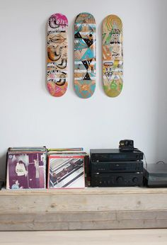 I like skateboards as art. Nice display of records as well.