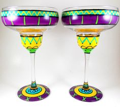 Margarita Glasses set of two hand painted by ImpulsiveCreativity, $44.00