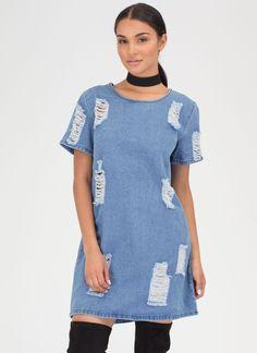7de0dcbfb74 Shift Into Gear Distressed Denim Dress BLUE