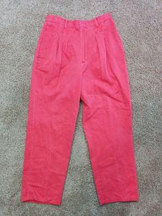 Garan by Marita vintage red high waist pleated pants, Size 14- RUNS SMALL, #3106 #GaranbyMarita #CasualPants