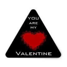 "Romantic ""You are my #Valentine"" Love Heart Red  Black White Triangle #Sticker"