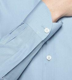 ERMENEGILDO ZEGNA: Chemise classique - Couture Toile Col Classique Poignets avec deux  Bleu ciel, Détail 3 - 38352723IO