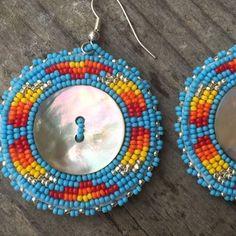 Been loving these abalone buttons. #myfaves #beadedearrings #nativebeadwork #beadwork #abaloneearrings