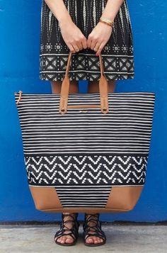 Getaway Bag in Black and Cream Stripe   Stella & Dot