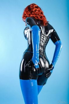 Black and Blue Latex Catsuit and Black Latex Corset