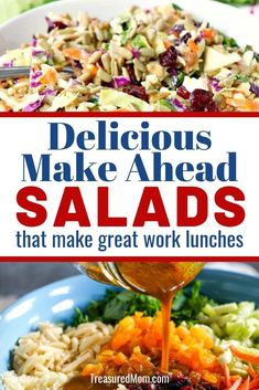 Make Ahead Salads work perfectly for work lunches, meal prep or as a side dish to your healthy family dinner. You'll love these easy recipes and they'll change your work lunches forever. Healthy Family Dinners, Frugal Meals, Easy Meals, Frugal Recipes, Work Lunches, Bag Lunches, School Lunches, Curried Couscous, Planning Menu